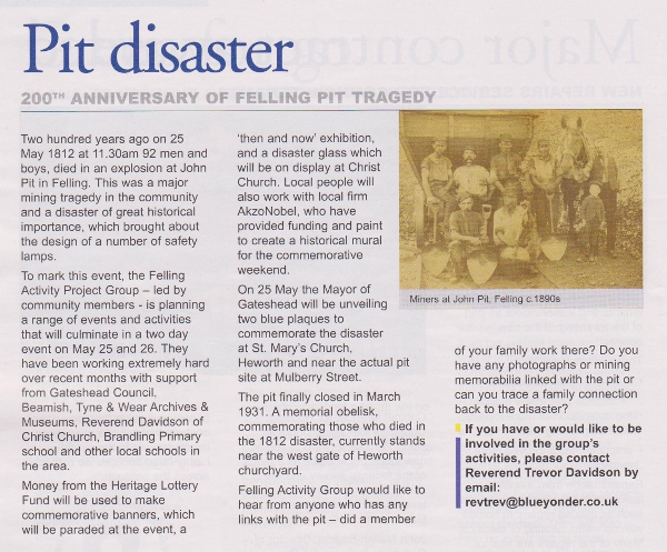 200th Anniversary of Felling Pit Disaster